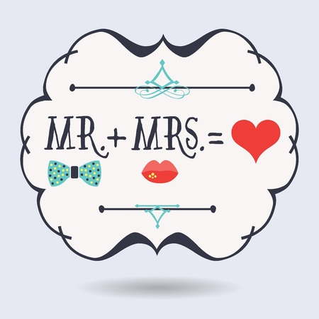 Abstract conceptual Mr. plus Mrs. equals red heart icons on blue background