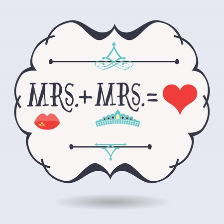 Abstract conceptual Mrs. plus Mrs. equals red heart icons on blue background Illustration