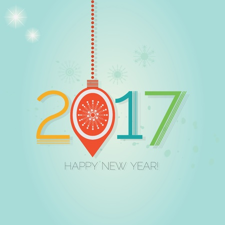 happy new year: Happy New Year 2017 - Abstract hanging Christmas ornament on blue gradient background Illustration