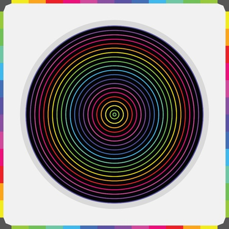 Abstract colorful parallel inner circles pattern on black with color bricks border Illustration