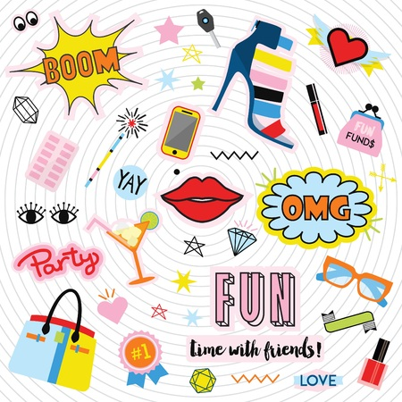 sexy teenage girl: Fashionable quirky colorful labels and stickers icons set on inner circles background