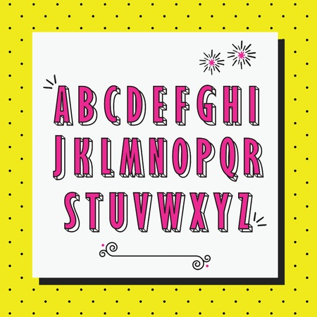 Pink cute and girlie capital letters set on yellow dotted background