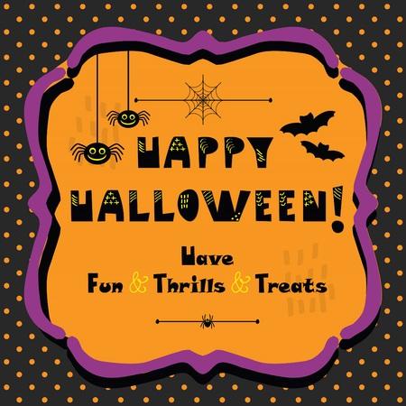Cute Happy Halloween emblem greeting card on polka dots background
