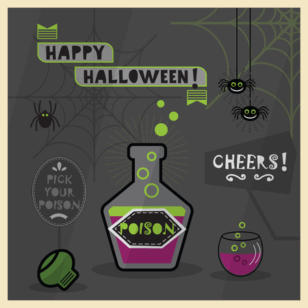 poison bottle: Happy Halloween card - Pick your poison spooky dark cartoon with bottle and a glass full of poison