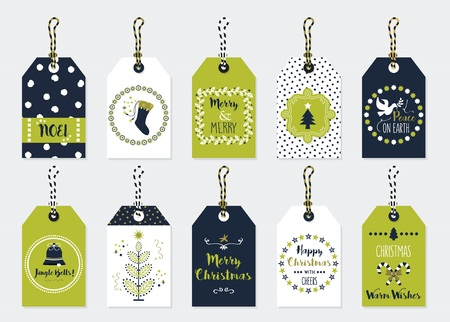 Green and dark navy blue Christmas and Holiday gift tags set on gray background
