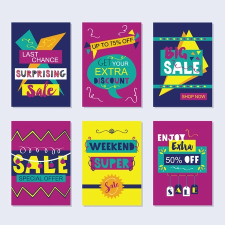 navy blue: Purple, navy blue, and yellow funky sale and discount cards set on gray background Illustration