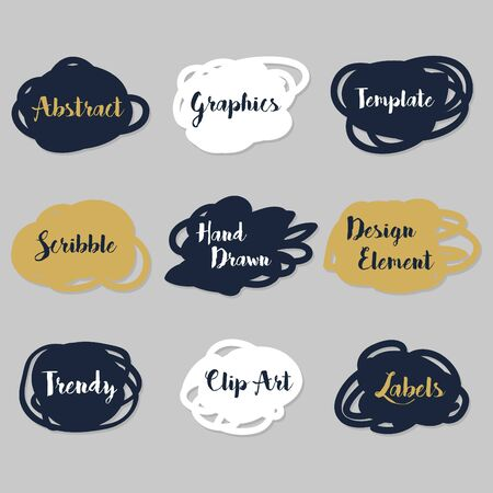 navy blue: Golden, navy blue, and white scribble labels set on gray background