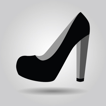 high heel shoe: Single black women platform high heel shoe icon on gray gradient background