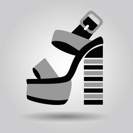 high heel shoe: Single women platform high heel shoe with striped heels icon on gray gradient background