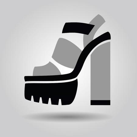 high heel shoe: Single women platform high heel shoe with solid heels icon on gray gradient background Illustration