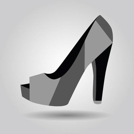 peep toe: Single women peep toe high heel pattern shoe icon on gray gradient background Illustration
