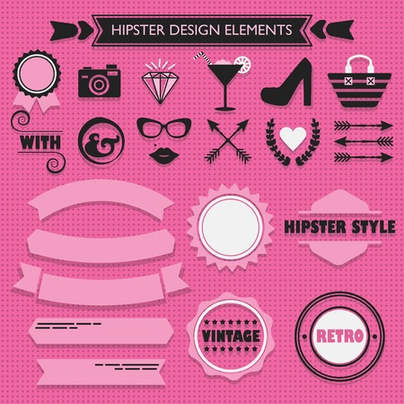 Hipster feminine black silhouette icons and pink rebbons and emblems set on pink dotted background Vettoriali