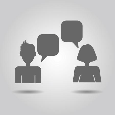 socialising: socializadores iconos masculinos y femeninos con burbujas de discurso vacío sobre fondo gris degradado