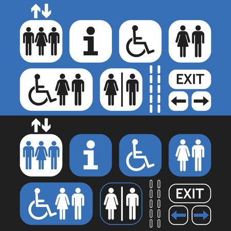 White and blue line and silhouette Man and Woman public access icons set on blue and black background Illustration