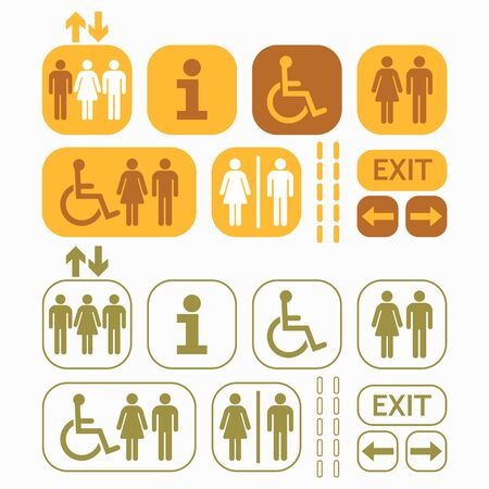 olive green: Yellow, brown, and olive green line and silhouette Man and Woman public access icons set on gray background