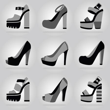 heel strap: Women trendy platform high heel shoes icons set on gray gradient background
