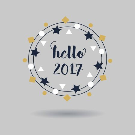 navy blue: Abstract navy blue hello 2017 sign and white and golden circle geometrical wreath emblem with dropped shadow on gray background Illustration