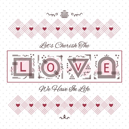Cherish The Love card - 점선 배경의 선 기하학적 디자인 일러스트