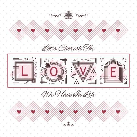curare teneramente: Custodire la carta Amore - linea di design geometrico su sfondo punteggiato Vettoriali