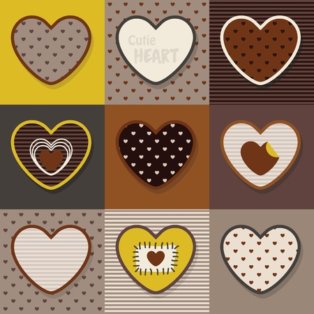 scrapping: Brown, khaki and yellow  cute hearts pattern set