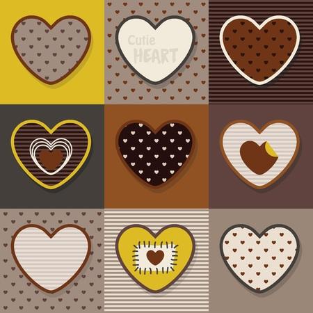 Bruin, kaki en geel schattige hartenpatroon set Stock Illustratie