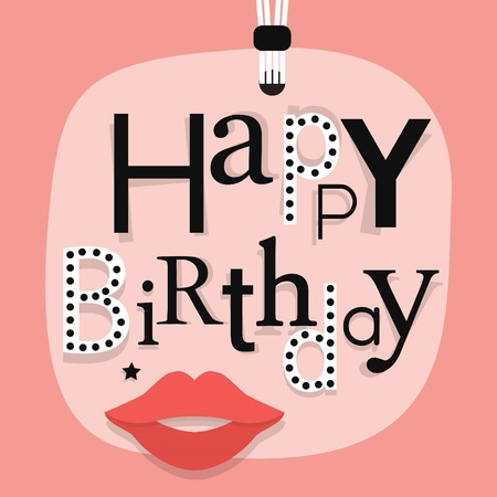 Abstract close up of hanging Happy Birthday message with woman lips on pink gift tag with funky font faces arrangement