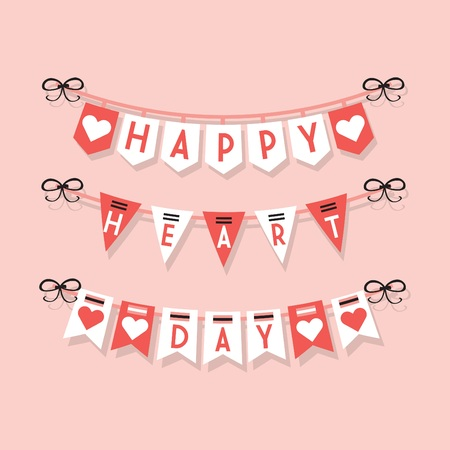 Leuke Happy Heart Day opknoping buntings decoratie pictogrammen ingesteld op lichtroze achtergrond