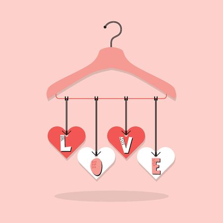 Cute pink hanging LOVE paper cut font, with heart tags hanger on pink background