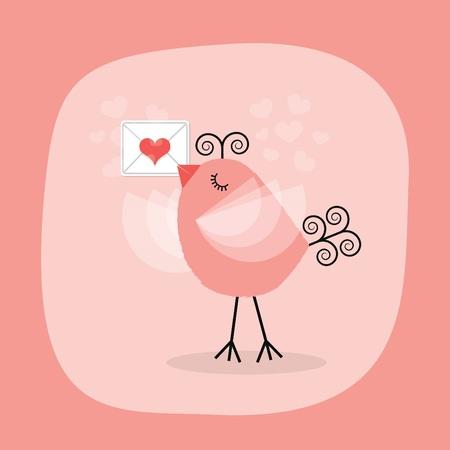 Cute little bird holding heart letter emblem on pink background Vettoriali