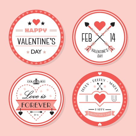 Cute red Valentines day and romantic badges set on pink background