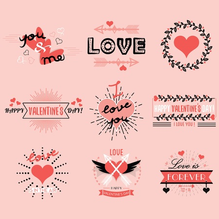 i beam: Valentines day emblems and design elements set on pink background