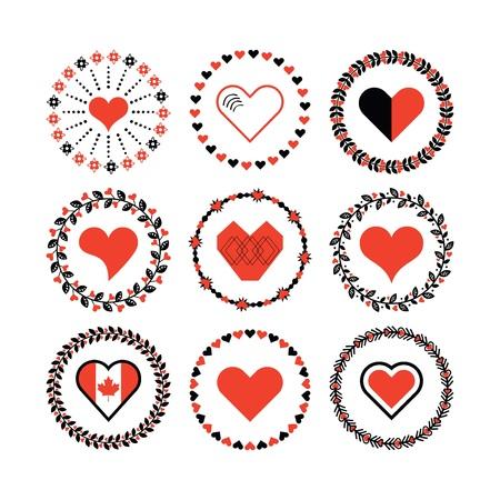 Set of circle border decorative hearts symbol patterns and design elements for frameworks
