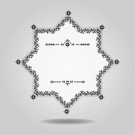 Black and white spring floral border blank star emblem design element on gray gradient background. Ilustração