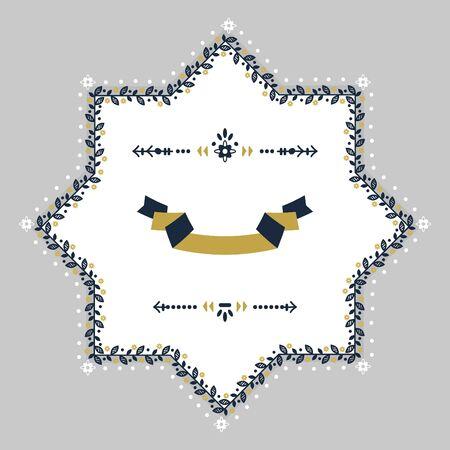 Navy blue and golden spring floral blank star emblem design element on gray background. 向量圖像