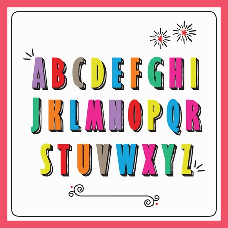 Colorful funky capital alphabet letters set on white background