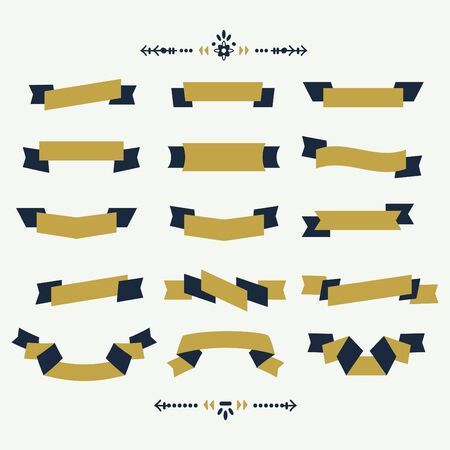 Navy blue and golden ribbon banners design elements set on off white background
