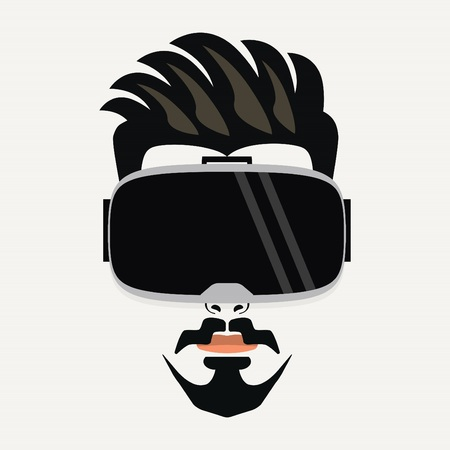 virtual reality simulator: Goatee beard handsome hipster young male wearing virtual reality glasses