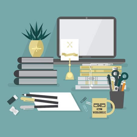 Abstract workaholic desk top icons on teal background Banco de Imagens - 78208077