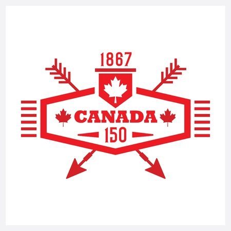 Red long hexagon and crossed arrows Canada 150 emblem icon on white background