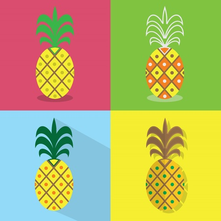 Pineapple icons set - Different styles of colorful flat designs Çizim