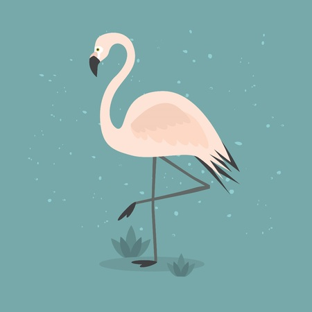 wading: Beautiful abstract single pink flamingo standing on one leg on textured teal background