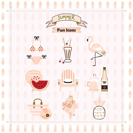 Pink fashion trends summer and beach fun icons set on pattern background Stock Illustratie