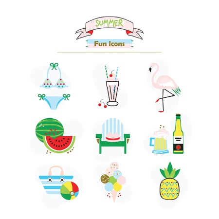 Colorful fashion trends summer and beach fun icons set on white background Stock Illustratie