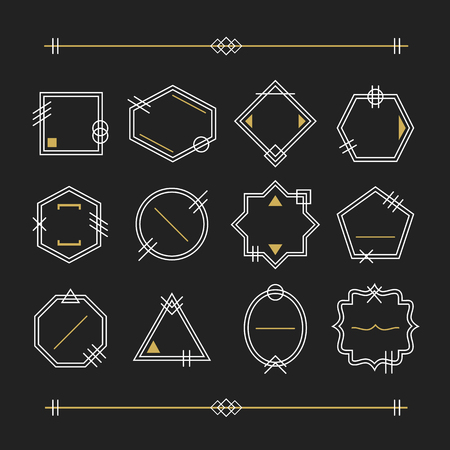 Trendy white and golden empty line white emblems set on black background Illusztráció