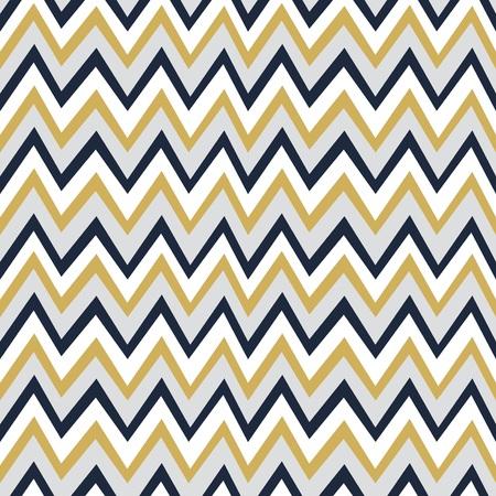 Trendy gouden, witte en marineblauwe chevron achtergrond patroon Stock Illustratie