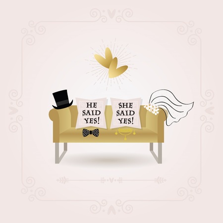 he said: Black and golden abstract He Said Yes and She Said Yes pillow wedding card