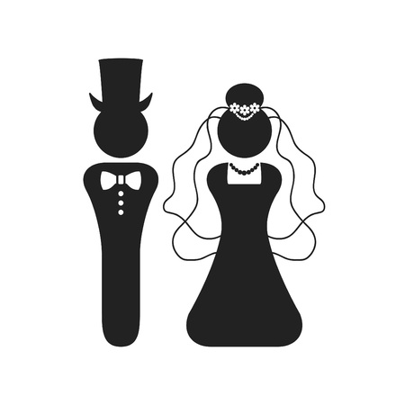 Black silhouette of Bride and Groom.