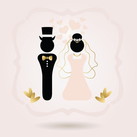 Black and golden abstract bride and groom illustration on pink gradient.