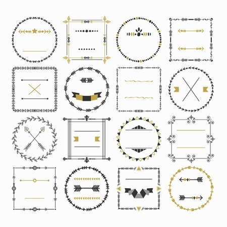 Black and golden empty circle and square border emblems icons set on white background