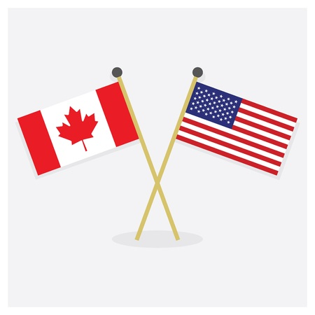 American and Canadian flags illustration.